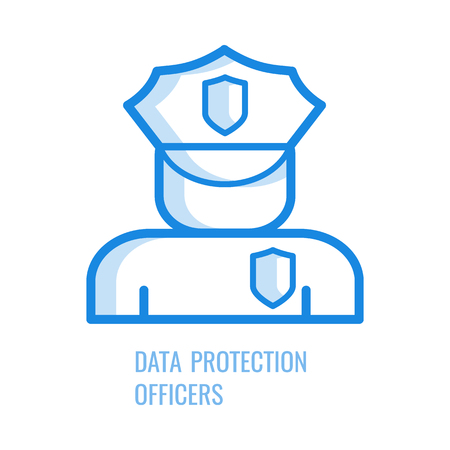 Data protection officer icon - blue outline symbol of abstract human silhouette in security uniform with shields isolated on white background. Vector illustration of gdpr concept.