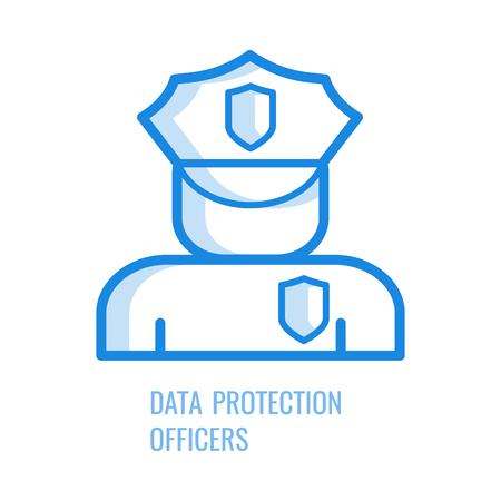 Datenschutzbeauftragter-Symbol - blaues Umrisssymbol der abstrakten menschlichen Silhouette in Sicherheitsuniform mit Schildern isoliert auf weißem Hintergrund. Vektor-Illustration des gdpr-Konzepts. Vektorgrafik