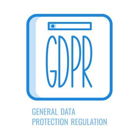 GDPR line icon - general data protection regulation symbol isolated on white background. Vector illustration of blue outline pictogram of personal information safety and security concept.
