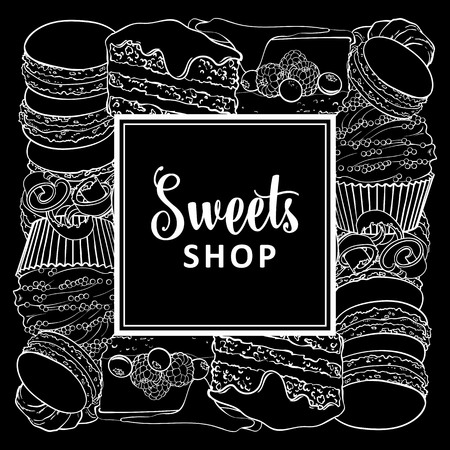 Sweets shop square banner with baked desserts in line sketch style - vector illustration of white outline hand drawn pies, cupcakes and macarons with chocolate shavings isolated on black background.