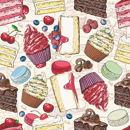Kuchen und Kekse nahtlose Muster im Skizzenstil - schöner Hintergrund mit handgezeichneten Backwaren mit Früchten und Beeren. Helle bunte Textur mit süßen Desserts. Vektorgrafik
