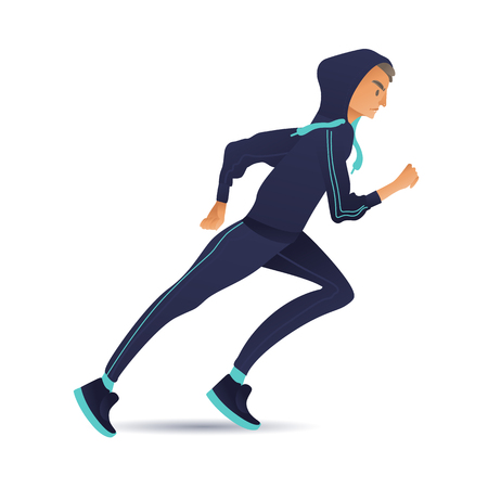 Young sportsman running vector illustration in flat gradient style. Male cartoon character in sportswear doing cardio workout jogging - running guy isolated on white background.