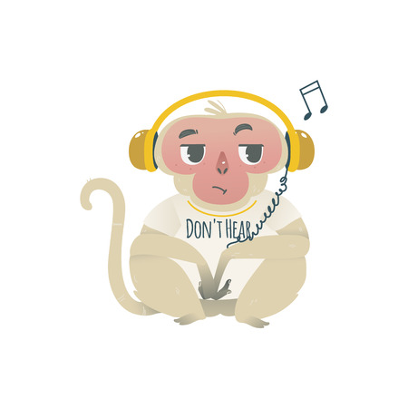 Vector dont hear metaphor monkey sitting in big headphones. Cartoon ape animal for moral design. Funny primate animal, chimpanzee sitting listening to music, isolated illustration
