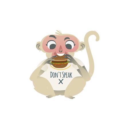 Vector dont speak metaphor monkey eating big burger. Cartoon ape animal for moral design. Funny primate animal, speak no evil chimpanzee , isolated illustration