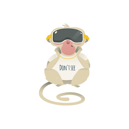 Vector dont see metaphor monkey sitting in VR headset relaxed. Cartoon ape animal for moral design. Funny primate animal, see no evil chimpanzee, isolated illustration