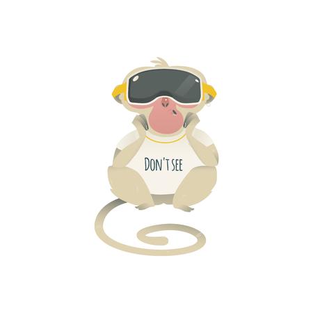 Vector sieht keinen Metapher-Affen, der entspannt im VR-Headset sitzt. Cartoon-Affentier für moralisches Design. Lustiges Primatentier, sehe keinen bösen Schimpansen, isolierte Illustration Vektorgrafik
