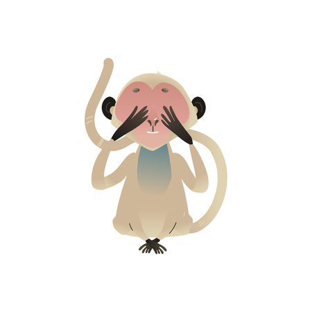 Vector dont see metaphor monkey covering her eyes by hands. Cartoon ape animal for moral design. Funny primate animal, see no evil chimpanzee, isolated illustration