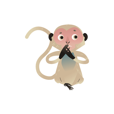 Vector dont speak metaphor monkey covering her mouth by hands. Cartoon ape animal for moral design. Funny primate animal, speak no evil chimpanzee , isolated illustration