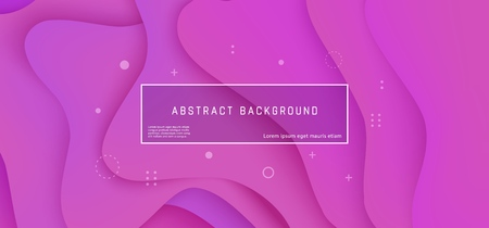 Layered background with liquid wave shapes of gradient lilac color - vector illustration of horizontal banner, poster or web header with bright abstract fluid color shapes.