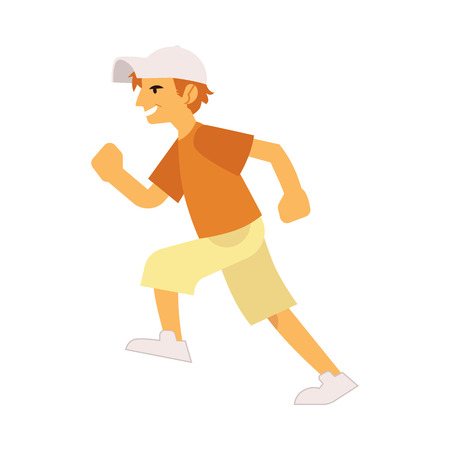 Vector illustration of young smiling boy in casual clothing running forward in flat style isolated on white background - side view of hurrying male character moving fast.