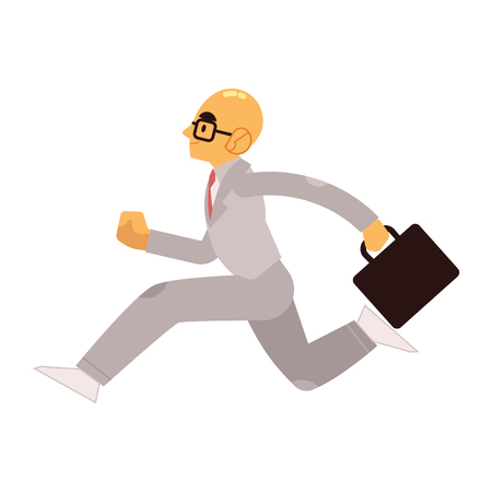 Smiling businessman in suit with briefcase running forward in flat style isolated on white background - side view of happy male business person hurrying and moving fast in vector illustration. Imagens - 126964960