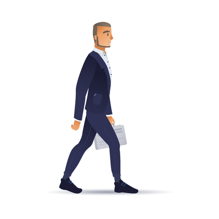 Vector illustration of businessman in dark blue suit with briefcase walking forward isolated on white background - side view of successful business person in flat gradient style.