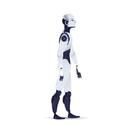 Ilustración de vector de organismo cibernético robot - vista lateral de cyborg masculino con inteligencia artificial en estilo degradado plano aislado sobre fondo blanco. Robot humanoide metálico caminando hacia adelante.