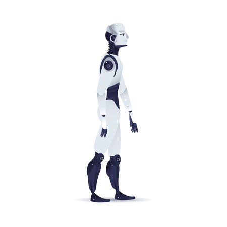 Robot cybernetic organism vector illustration - side view of male cyborg with artificial intelligence in flat gradient style isolated on white background. Metallic humanoid robot walking forward.