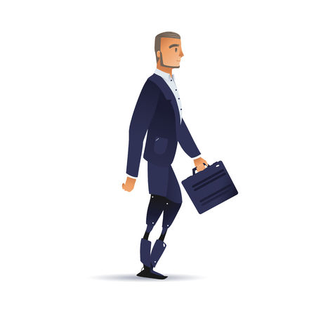Vector illustration of businessman with artificial legs in dark blue suit with briefcase walking forward - isolated side view of successful business person with bionic limbs in flat gradient style. 向量圖像