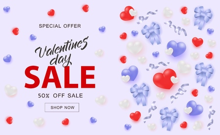 Valentines Day Sale banner with hearts and ribbon bows in realistic style on pastel blue background - 14 February holiday romantic special offer horizontal poster with sign and Shop now button.