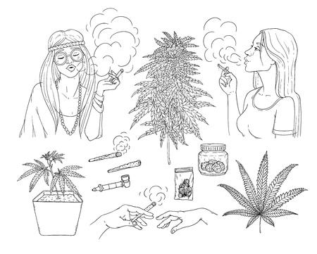 Accumulazione di schizzo di fumo di cannabis vettoriale. Ragazza hippie con giuntura di erba, canna di canapa, giovane donna con sigaretta, pianta di marijuana in vaso, boccioli in confezione, mani con bong. Illustrazione monocromatica Vettoriali