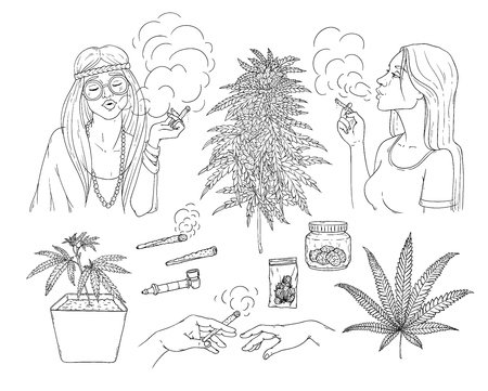 Vector cannabis smoking sketch collection. Hippie girl with weed joint, hemp spliff, young woman with cigarette, marijuana plant in pot, buds in package, hands with bong. Monochrome illustration