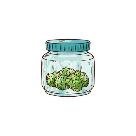 Germogli maturi della cannabis di vettore nell'icona di schizzo del barattolo di vetro. La pianta di canapa verde, il simbolo della droga fumante legalizzata, l'erba della marijuana, può essere utilizzata nella progettazione medica. Illustrazione isolata