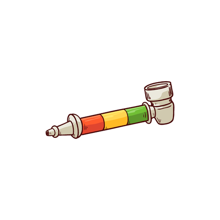 Vector bong sketch icon. Smoking pipe for illegal narcotic weed. Marijuana, cannabis or hashish smoke equipment. Narcotic addiction and healthcare consequence concept.