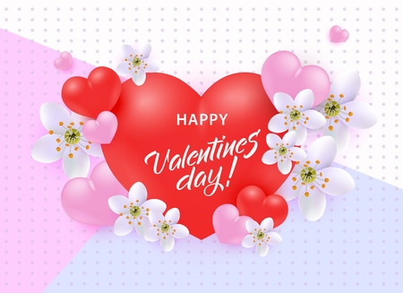 Happy Valentine Day greeting banner with congratulation sign on big red realistic 3d heart shape surrounded by white flowers and pink hearts on pastel background - vector illustration for 14 February. 矢量图像