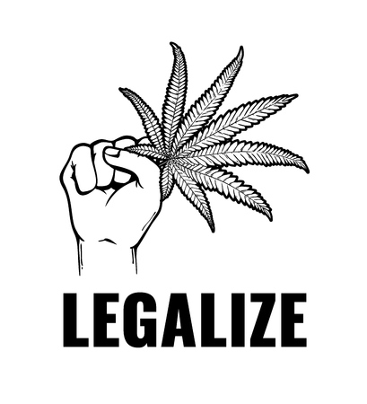 Vector monochrome hand holding cannabis leaf with legalize inscription. Green hemp plant, ligalized smoking drug symbol, marijuana herb, can be used in medical design. Isolated illustration