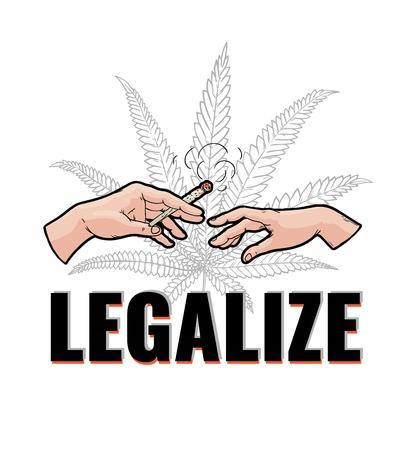 Illustration vectorielle de deux mains humaines avec de la cigarette roulée de marijuana avec de la fumée isolée sur fond blanc avec des feuilles de cannabis et légaliser le signe en illustration vectorielle.