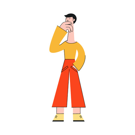 Man thinking vector illustration - young confused and doubted male character standing holding hand on chin and searching for idea or solution of problem isolated on white background.
