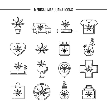 Medical marijuana icons vector illustration set - thin black outline symbols of cannabis leaf for drug consumption and hemp legalization concept isolated on white background.