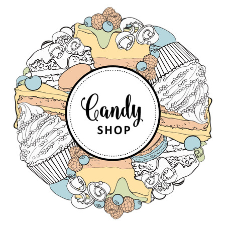 Vector candy shop brand logo, signage background or poster template. Cupcakes, biscuits with delicious cream emblem. Hand drawn sketch desserts for pastry menu design. Isolated illustration