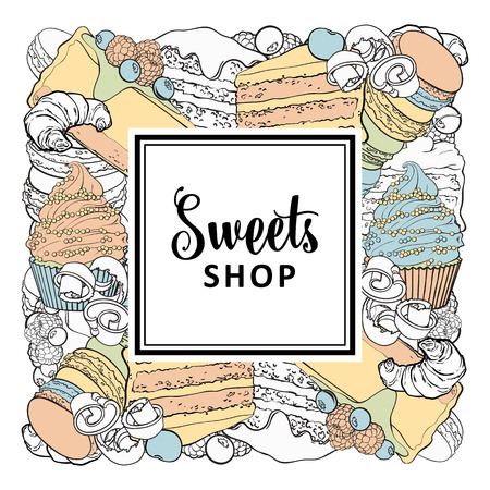 Sweets shop square banner with baked desserts in sketch style - vector illustration of hand drawn pies decorated with berries and croissants, cupcakes and macarons isolated on white background.