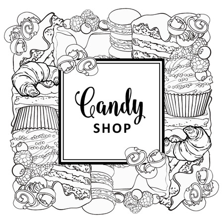 Candy shop square banner with baked desserts in line sketch style isolated on white background - vector illustration of hand drawn pies and croissants, cupcakes and macarons, chocolate shavings.