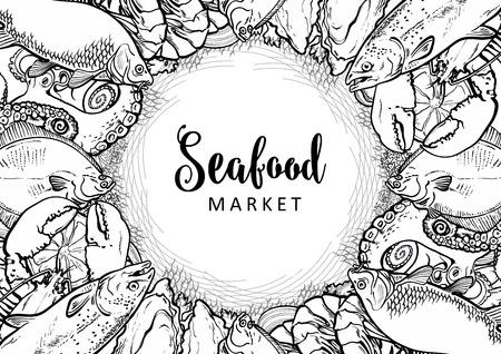 Modèle monochrome de marché aux poissons de vecteur, restaurant de fruits de mer, logo de café, affiche publicitaire avec des animaux sous-marins. Composition marine avec poulpe, homard, thon, poisson plat de truite avec tranche de citron