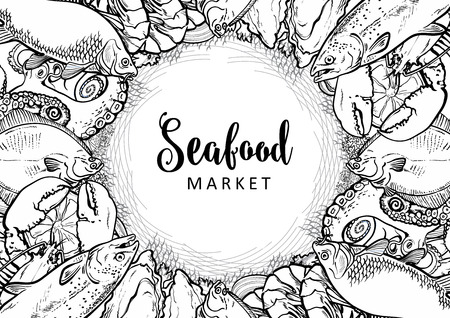 Vector fish market monochrome pattern, seafood restaurant, cafe logo, advertising poster with underwater animals. Marine composition with octopus, lobster, tuna, trout flatfish with lemon slice Vettoriali