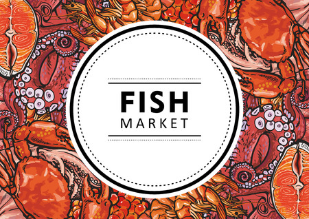 Vector fish market, seafood restaurant, cafe logo, advertising poster with square underwater animals delicacy pattern. Marine composition with squid meat steak octopus and crayfish with shrimps