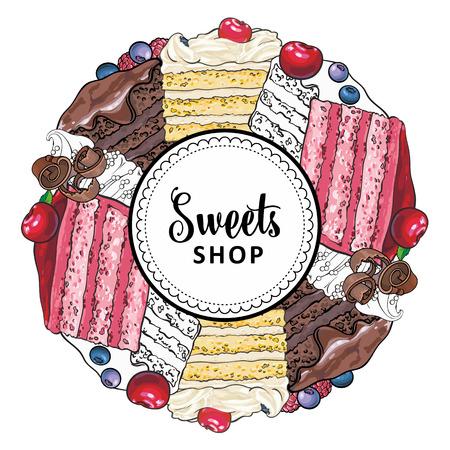 Vector il logo del marchio del negozio di dolciumi, lo sfondo della segnaletica o il modello del manifesto. Cupcakes, biscotti con deliziosa crema emblema. Dessert di schizzo disegnato a mano per la progettazione di menu di pasticceria. Illustrazione isolata