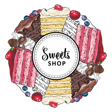 Vektor-Süßigkeiten-Shop-Markenlogo, Beschilderungshintergrund oder Plakatvorlage. Cupcakes, Kekse mit leckerem Sahneemblem. Handgezeichnete Skizzendesserts für Gebäckmenüdesign. Isolierte Abbildung