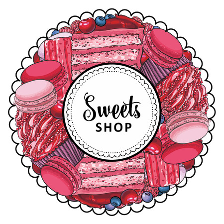 Vector sweets shop brand logo, signage background or poster template. Cupcakes, biscuits macaroni with delicious cream emblem. Hand drawn sketch desserts for pastry menu design. Isolated illustration