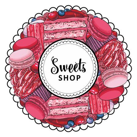 Wektor logo marki sklep słodycze, oznakowanie tła lub plakat szablon. Babeczki, ciasteczka makaronowe z pysznym kremowym emblematem. Ręcznie rysowane szkic desery do projektowania menu ciasta. Ilustracja na białym tle Logo