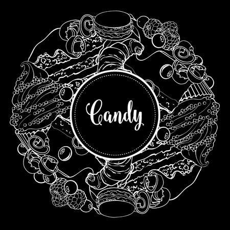 Vector candy shop monochrome brand logo, signage background or poster template. Cupcakes, croissant macaroni with delicious cream, berries emblem. Hand drawn sketch desserts for pastry menu design. Illustration