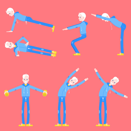 Vector illustration set of elderly man doing sport exercises in flat style - isolated senior male character in different athletic poses for healthy and active lifestyle at retirement age concept. 向量圖像