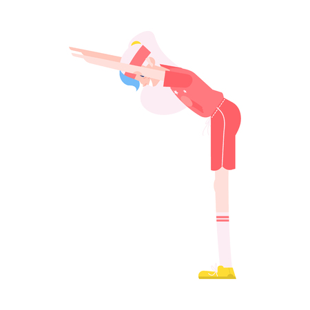 Vector illustration of grandmother making torso forward bending in flat style - healthy and sporty aged female character doing fitness exercises isolated on white background. Иллюстрация