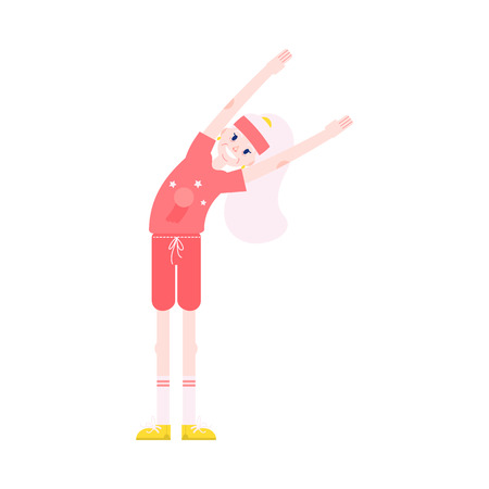 Vector illustration of grandmother making torso bending sideways with hands up in flat style - healthy and smiling aged female character doing sport exercises isolated on white background.