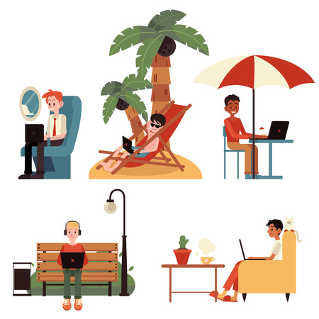 Vector cartoon freelance distant work concept people set. Men working from tropical island, during business flight, sitting at park bench, in cafe and from cozy sofa at home typing at laptop