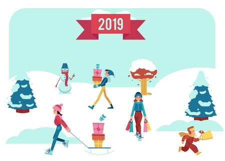 Vector illustration of winter banner with people walking on snow cover with shopping bags and gift boxes under 2019 sign for Christmas and New Year sale promotion design in flat style.