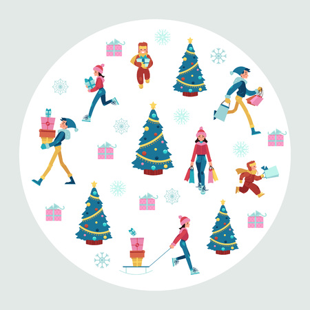 Vector illustration of Christmas and New Year banner with people in warm clothing carrying shopping bags and gift boxes and decorated tree in white round shape for seasonal design in flat style.