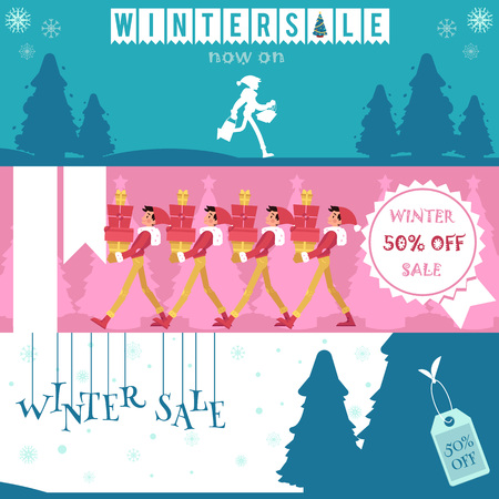 Vector illustration set of winter sale horizontal banners in flat style - young man with gift boxes and shopping bags and silhouettes of fir-trees for seasonal promotion design.