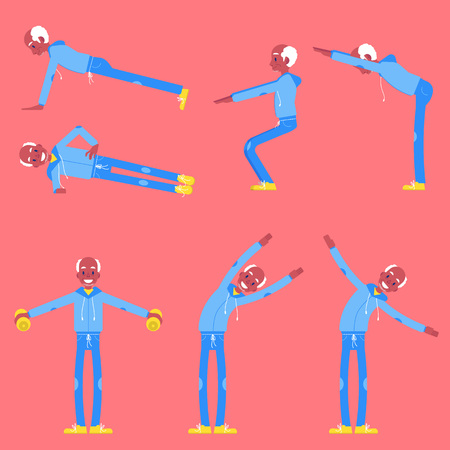Vector illustration set of senior man doing sport exercises in flat style - isolated gray-haired male character in different athletic poses for healthy and active lifestyle at retirement age concept.