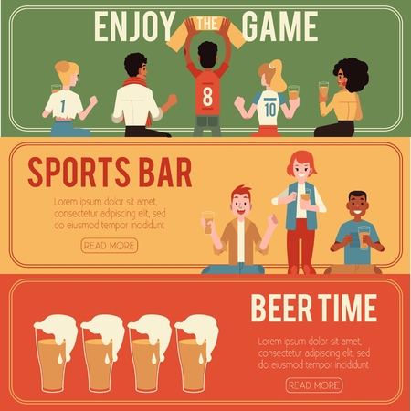 Vector illustration set of sports and beer bar horizontal banners with male and female fans supporting their favourite team and drinking alcohol drink in mugs in flat style.