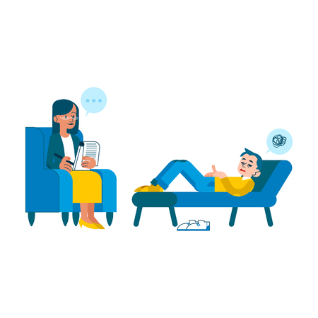 Vector psychotherapy session concept with adult woman mental therapist, psychiatrist asking questions, listening to tired male character with health problem, dizziness, messy thoughts lying at sofa.